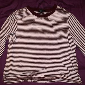 Forever 21 Maroon Striped Long Sleeved Top